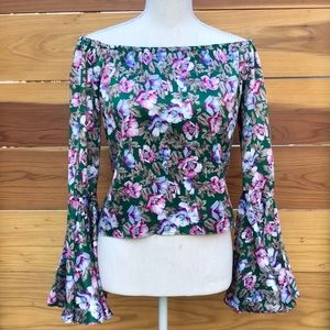 VINTAGE FLORAL BELL SLEEVE BLOUSE TOP